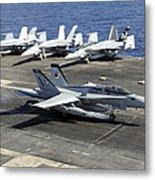 An Fa-18e Super Hornet Lands Aboard Metal Print