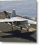 An Fa-18e Super Hornet Trap Landing Metal Print