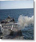 An Mk-45 Lightweight Gun Is Fired Metal Print