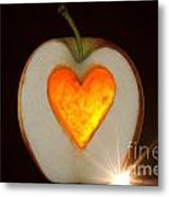 Apple With A Heart Metal Print