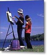 Artist Painting Cayuga Lake Metal Print