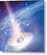 Asteroid Impacting The Earth, Artwork Metal Print by Detlev Van Ravenswaay