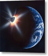 Asteroid Impacting The Earth, Artwork Metal Print by Richard Bizley