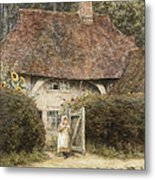 At The Cottage Gate Metal Print