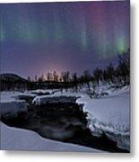 Aurora Borealis Over Blafjellelva River Metal Print