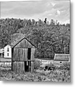Autumn Farm Monochrome Metal Print by Steve Harrington