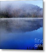 Autumn Morning Mist On Lake Metal Print