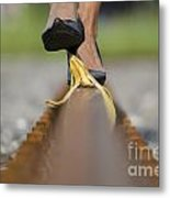 Banana Peel On The Railroad Tracks Metal Print