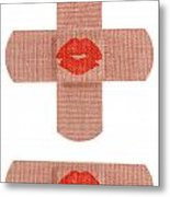 Bandages With Kiss Metal Print by Blink Images