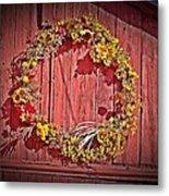 Barn Wreath Metal Print