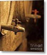 Barrels Of Wine In A Wine Cellar. France Metal Print by Bernard Jaubert