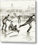 Baseball On Ice, 1884 Metal Print
