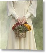 Basket With Flowers Metal Print