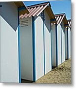 Beach Cabins In Venice, Italy Metal Print