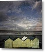 Beach Huts Under A Stormy Sky Vintage-look. Normandy. France Metal Print