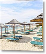 Beach Umbrellas On Sandy Seashore Metal Print