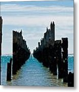 Beautiful Rotten Mooring On A Beach Where Only The Pillars Are L Metal Print