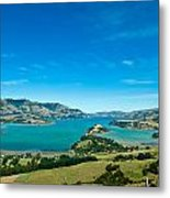 Beautiful Summer Day View Into The Akaroa Harbour Metal Print