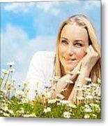 Beautiful Woman Enjoying Daisy Field And Blue Sky Metal Print by Anna Om