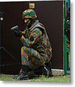 Belgian Paracommandos Entering Metal Print by Luc De Jaeger