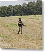 Belgian Paratroopers Proceeding Metal Print by Luc De Jaeger