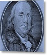 Ben Franklin In Cyan Metal Print
