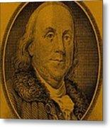 Ben Franklin In Orange Metal Print