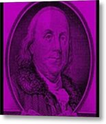 Ben Franklin In Purple Metal Print