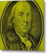 Ben Franklin In Yellow Metal Print