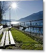 Bench In Backlight Metal Print