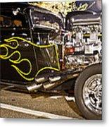 Black Hot Rod Big Engine Metal Print