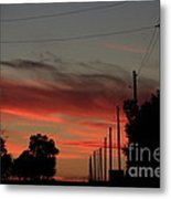 Blazing Red Country Road Sunset Metal Print