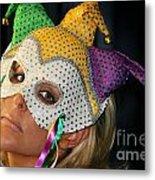 Blond Woman With Mask Metal Print by Henrik Lehnerer