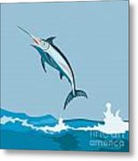 Blue Marlin Fish Jumping Retro Metal Print by Aloysius Patrimonio