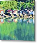 Boat House Reflections Metal Print