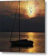 Boat In Sunset Metal Print
