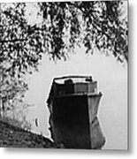 Boat On Foggy Rhine Metal Print