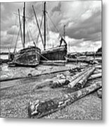 Boats And Logs At Pin Mill  Metal Print