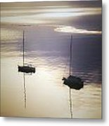 Boats In Mist Metal Print