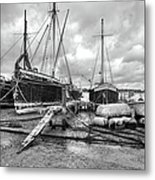 Boats On The Hard Pin Mill Metal Print