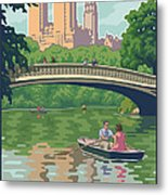 Bow Bridge In Central Park Metal Print