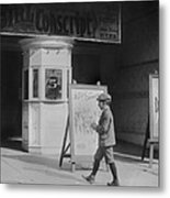 Boy In Front Of A Movie Theater Showing Metal Print