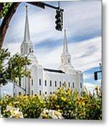 Brigham City Temple Street Lights Metal Print