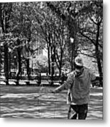 Bubble Boy Of Central Park In Black And White Metal Print