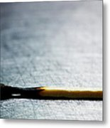 Burned Match On Stainless Steel. Metal Print