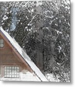Cabin In The Winter Metal Print