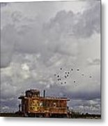 Caboose In A Cotton Field Metal Print