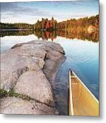 Canoe At A Rocky Shore Autumn Nature Scenery Metal Print