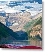 Canoes On Lake Louise Metal Print