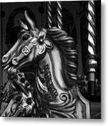 Carousel Horses Mono Metal Print